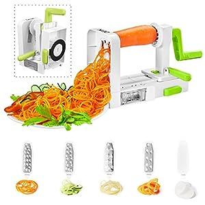 Spiralizer Vegetable Slicer, Deik Spiral Slicer 5 Blade, 2018 New Model Foldable, Strongest Heaviest Duty Veggie Pasta and Spaghetti Maker for Low Healthy Carb/Paleo/Gluten-Free