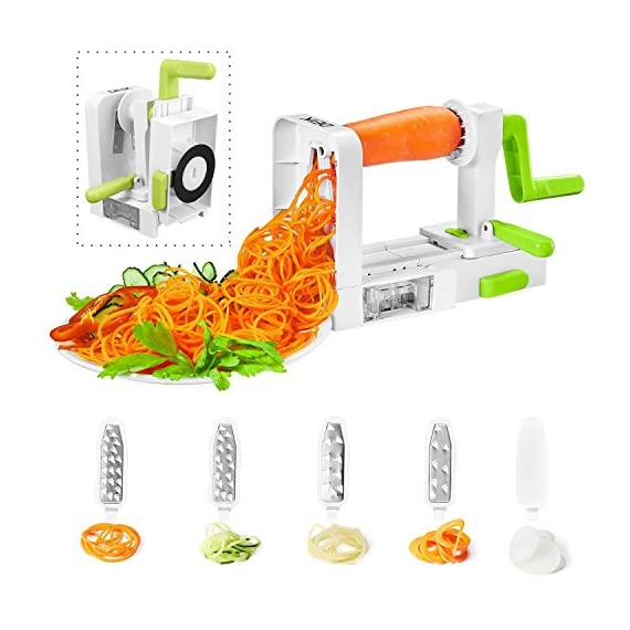 "Spiralizer Vegetable Slicer, Deik Spiral Slicer 5 Blade, New Model Foldable, Strongest Heaviest Duty Veggie Pasta and Spaghetti Maker for Low Healthy Carb/Paleo/Gluten-Free 1 Premium Quality Materials: Our vegetable slicer is made of 5 blades which is superior quality, 100% stainless steel, while the plastic parts are made of 100% BPA-free, food- grade plastic, markedly stronger than any of the others which are old & weak. Easy to Use, Work Perfectly: It is very easy to use and it only takes minutes to process 2 or 3 zucchini for enough noodles for a couple of people to have a healthy ""pasta"" dish. And all of the attachments are easy to setup, the suction cup feet secure the unit to work surface to keep it steady at your slice. Save Space, Easy to Clean: It can easily be folded to save space when not in use, unfolded for use again in seconds and just rinse under water or run through the dishwasher, you don't need to take much time to maintenance it."