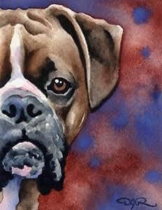 "Amazon.com: ""Boxer"" Dog Art Print Signed by Artist DJ"