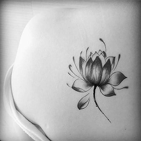 Etiquetas engomadas negras impermeables de la flor de loto mujeres ...