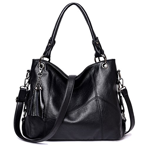 with Pendant Top Tassel Handbags Tote PU Leather Shoulder Handle Fanspack Purse Black Bag Crossbody Women's Bag qxHgfwnRA