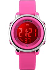 eYotto Kids Watch Girls Sport Digital Watches Waterproof 7 Colorful LED Alarm Stopwatch