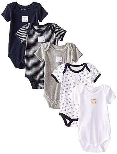 29690d053 Burt s Bees Baby - Set of 5 Bee Essentials Short Sleeve Bodysuits