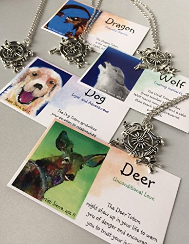 Smiling Wisdom - 4 Compass Totem Animals BFF Boys Gift Sets - Deer Dog Dragon Wolf - 4 Spirit Animal Friendship Gifts - Children, Tweens - Party Favors, Holiday, BFF Gifts - A Totem for Each Friend