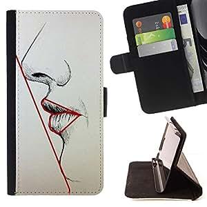 Momo Phone Case / Flip Funda de Cuero Case Cover - Simetría Mujer Labios Nariz Cara Arte Belleza - HTC One M8