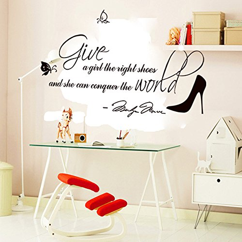 ufengke®'Give A Girl The Right Shoes and She Can Conquer The World' Quotes and Sayings Wall Decals, Living Room Bedroom Removable Wall Stickers Murals