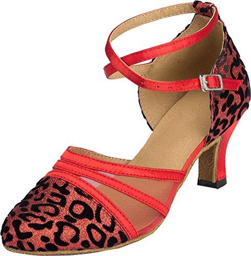 Abby Womens Comfort Practice Latin Modern Tango Cha-cha Custom Heeleep Peep-toe Mesh Professionele Dansschoenen Rood (2.4in)