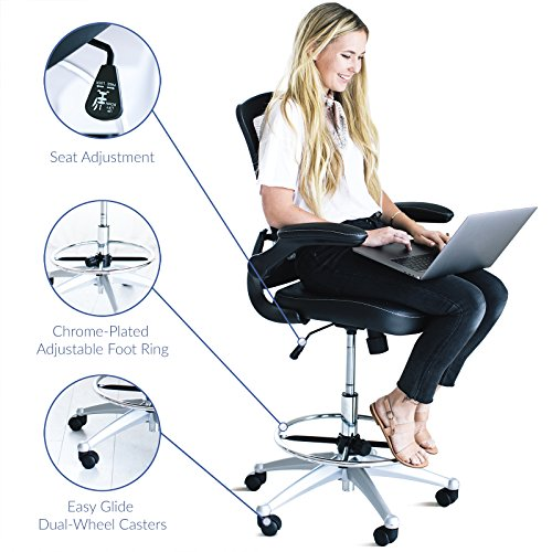 office products, office furniture, lighting, chairs, sofas,  drafting chairs 1 picture LexMod MO-EEI-1422-BLK Attainment Vinyl Seat in USA