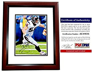 Brian Cushing Autographed Houston Texans 8x10 Photo Mahogany Custom Frame - PSA/DNA Authentic