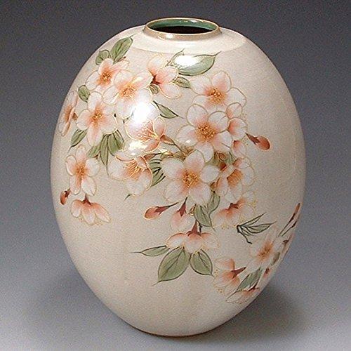 京焼清水焼 陶器 花器 花瓶 白掛桜 紙箱入 Kiyomizu-kyo yaki ware. Japanese ceramic Ikebana flower vase. White sakura. B0793QKNPX