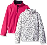 French Toast Girls' Little Long Sleeve Microfleece 2-Pack, Fuchsia Burst/Leopard Print, 5