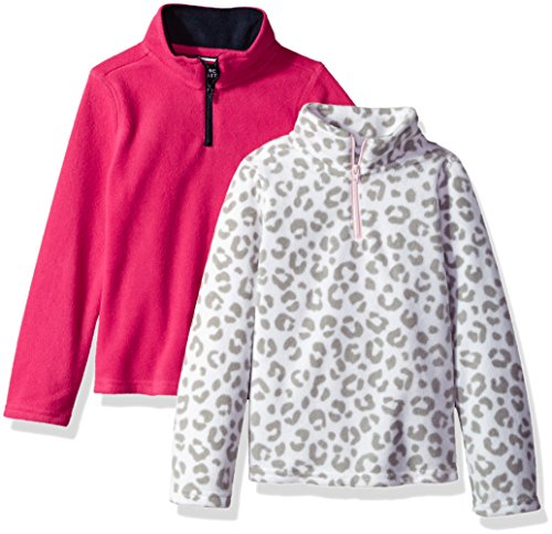 French Toast Little Girls' Long Sleeve Microfleece 2-Pack, Fuchsia Burst/Leopard Print, (Kids Leopard)