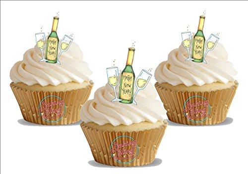 Happy New Year Champagne Bottle- Fun Novelty Birthday PREMIUM STAND UP Edible Wafer Card Cake Toppers Decoration