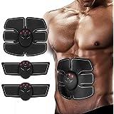 Ankuka Abdominal Muscle Toner, EMS Stimulator Portable ABS Muscle Toning Trainer Belt for Abdomen/Arm/Leg Training, Gym Workout Home/Office Men Women Fitness Equipment (White/Black)