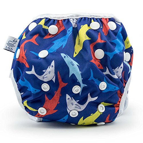 Nageuret Reusable Cloth Swim Diaper, Adjustable & Stylish Fits Babies Diapers Sizes N-5 (8-36lbs) Ultra Premium Quality for Eco-Friendly Baby Shower Gifts & Swimming Lessons Boys Swimsuit (Sharks) from Beau & Belle Littles