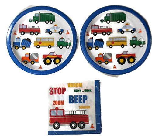 Traffic Jam Birthday Party Plates (16) Napkins (16)