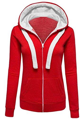 Di Lunga M Sottile Due Modo Delle amp; Tasche Donne W Rosso amp; S Sweatershirt Cerniera Incappucciato Con Manica XAgqww0