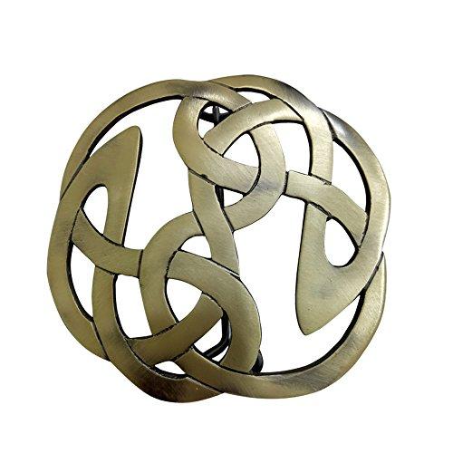 AAR Celtic Knot Kilt Fly Plaid Brooch for 3.50'' Diameter Antique Finish by AAR
