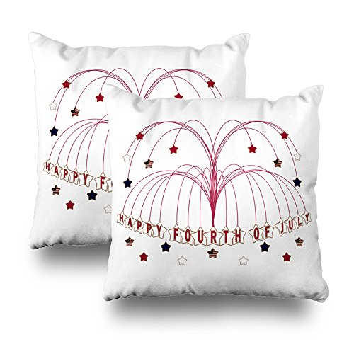Decorative Pillow Cover Pack Of 2, 18''X18'' Two Sides Printed Starburst Fountain Fourth Of July Throw Pillow Cases Decorative Home Decor Indoor/Outdoor Nice Gift Kitchen Garden Sofa Bedroom Car Li by Soopat