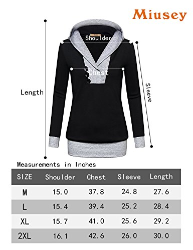 Miusey Pullover Hoodie, Women Long Sleeve Cute Pullover Hit Color Kangaroo Pocket Top Sweater T-Shirt Plus Size Plain Supreme Native X-Large Black by Miusey (Image #5)