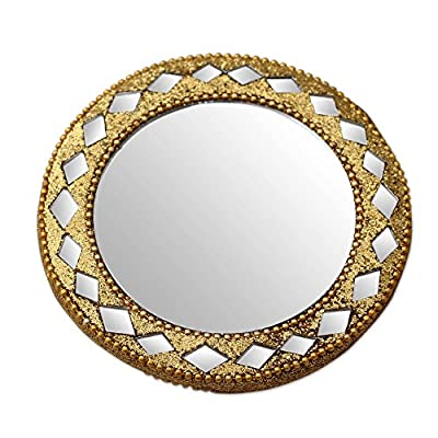 NOVICA Wood Wall Mounted, Gold Tone, Golden Charm' Embellished Hand Mirror - Frame: 0.2 in. H x 2.8 in. Diam.; Mirror: 2 in. Diam. Authentic: an original NOVICA fair trade product in association with National Geographic. Certified: comes with an official NOVICA Story Card certifying quality & authenticity. - bathroom-mirrors, bathroom-accessories, bathroom - 51oiSwPH%2B6L. SS400  -