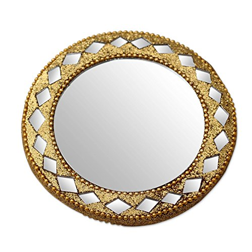 (NOVICA Wood Wall Mounted Golden Charm' Embellished Hand Mirror)