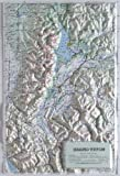 GRAND TETON NATIONAL PARK Raised Relief Map with Black Plastic Frame