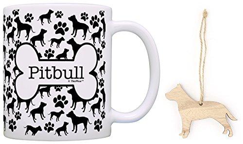 Pitbull Christmas Ornament & Pitbull Coffee Mug Tea Cup Bundle Dog Lover Stocking Stuffer