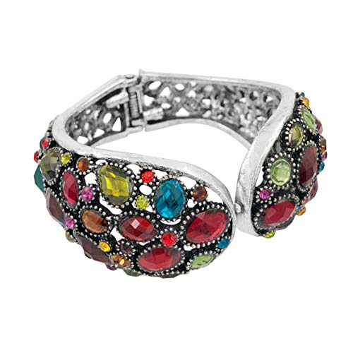 (Gypsy Jewels Multi Color & Multi Shape Rhinestone Unique Statement Hinged Bangle Bracelet (Assorted Shapes Silver Tone))
