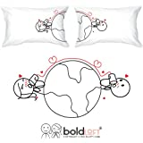 BOLDLOFT Love Has No Distance Couples Pillowcases-Long Distance Relationships Gifts,Long Distance Gifts for Couples,Valentines Day Gifts for Him for Her,His and Hers Gifts,LDR Gifts, Anniversary Gifts