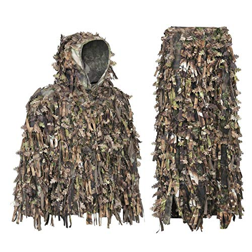 (Auscamotek Ghillie Suit 3D Hybrid Camo Camouflage Lightweight Clothing Turkey Hunting Gilly Suits, Green XL/XXL)