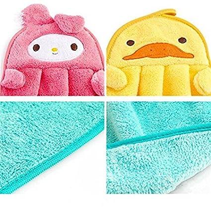 Lovely Nursery la toalla de mano suave felpa animal de la tela colgante de la historieta Limpie la toalla de baño Rana Verde Pato amarillo 2 piezas(37 ...