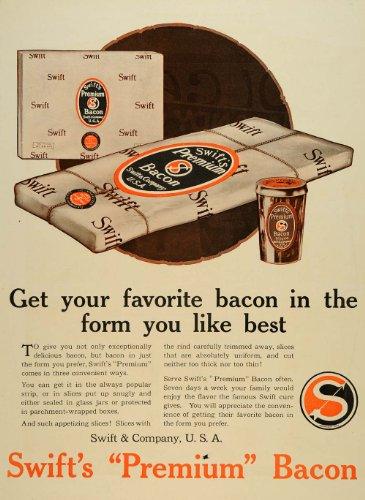1917 Ad Swift's Bacon Package Parchment Wrap Boxes WWI - Original Print Ad - Uni Wraps