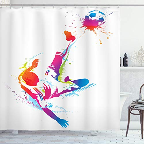 Ambesonne Soccer Shower Curtain, Soccer Man Kicks The Ball in The Air Watercolors Success Energy Feet Illustration, Cloth Fabric Bathroom Decor Set with Hooks, 70 Long, White Fuchsia