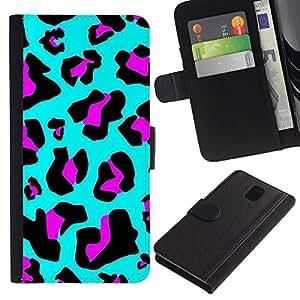 Billetera de Cuero Caso del tirón Titular de la tarjeta Carcasa Funda del zurriago para Samsung Galaxy Note 3 III N9000 N9002 N9005 / Business Style Pattern Fur Blue Abstract Purple