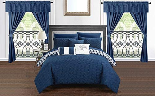 - Chic Home Sigal 20 Piece Comforter Set Reversible Geometric Quilted Design Complete Bed in a Bag Bedding - Sheets Decorative Pillows Shams Window Treatments Curtains Included King Navy