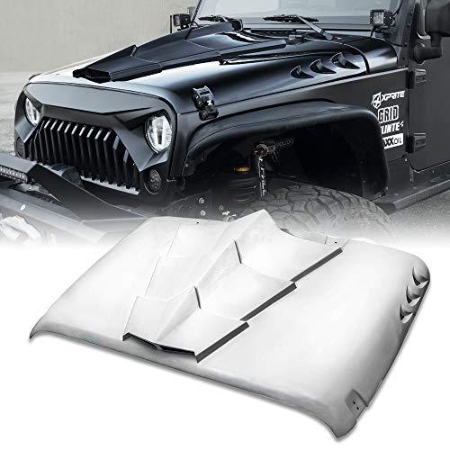 Xprite Fiberglass Hood Cover with Open Scoop for 2007-2018 Jeep Wrangler JK