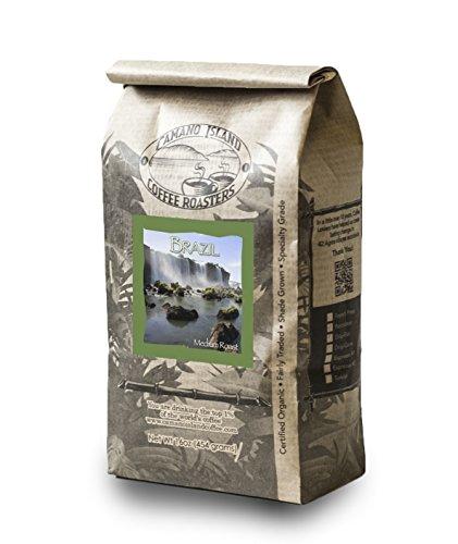 Camano Island Coffee Roasters, Organic Brazil Medium Roast, Whole Bean, 1 Lb