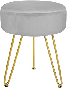 Velvet Footrest Stool Ottoman Round Modern Upholstered Vanity Footstool Side Table Seat Dressing Chair with Golden Metal Leg Grey