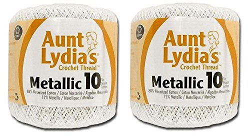 Aunt Lydia's Crochet Cotton Metallic Crochet Thread Size 10 (2 - Pack) (White/Pearl)