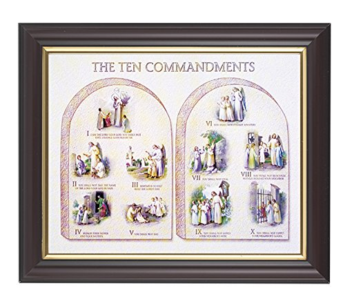 The Ten Commandments Print in a Fine Detailed Channel Grooved Dark Walnut 10