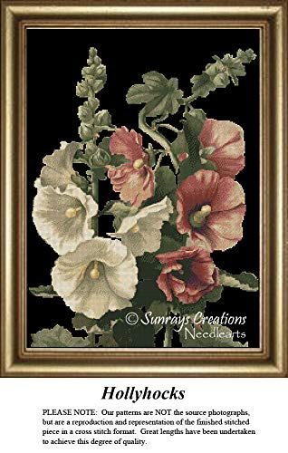 Sunrays Creations The Black Collection Cross Stitch Patterns   Hollyhocks (Pattern Only, You Provide The Floss and Fabric) ()