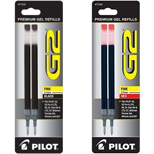 Pilot G2 Gel Ink Refills, 1 Black 2-Pack and 1 Red  [10DNFGCK]