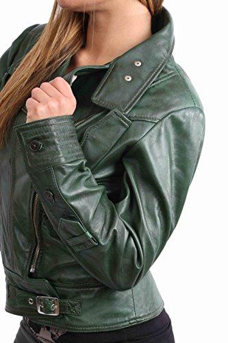 Mujer Cruz Cremallera Ajuste Delgado Motorista Estilo Genuino Cuero Chaqueta Hetty Verde
