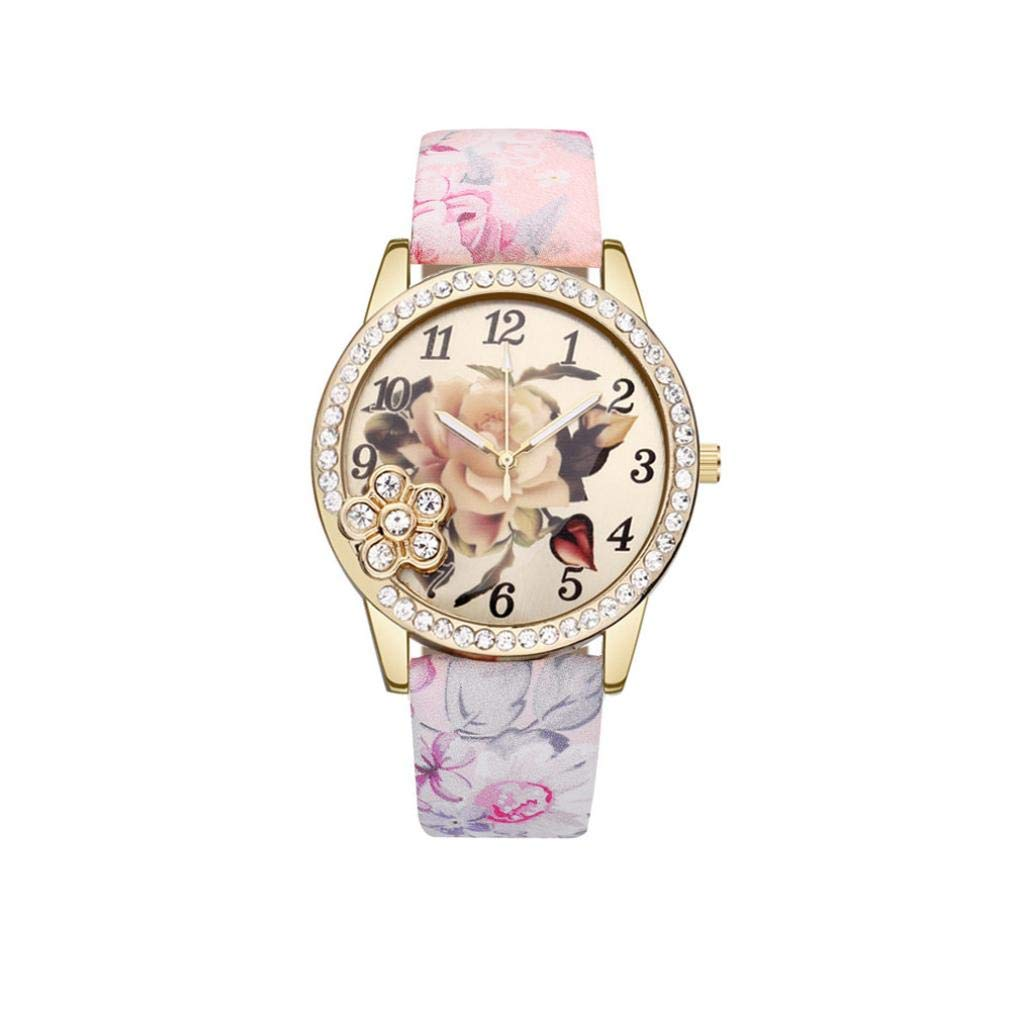 Amazon.com: Flower Wrist Watches for Girls, Iuhan Womens Leather Printed Flower Causal Quartz Wrist Watches Chronograph Leather Watch (B): Cell Phones & ...