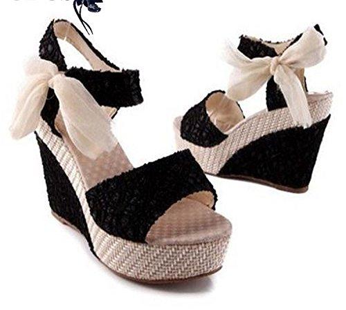 Platform high Shoes Women UNIOPLIIL Sandals Summer Toe Flops Women's Lace Wedges Bow Female As the Heeled Belt Flip Picture Open rZ7qZI