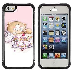 Pulsar Defender Series Tpu silicona Carcasa Funda Case para Apple iPhone 5 / iPhone 5S , Cute Teddy Bear Cake
