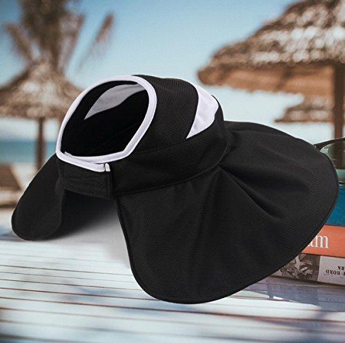 Anti Femme Soleil Ahatech soleil Eté Chapeau Pliable Casquette Voyage De Noir aAYaSW6q