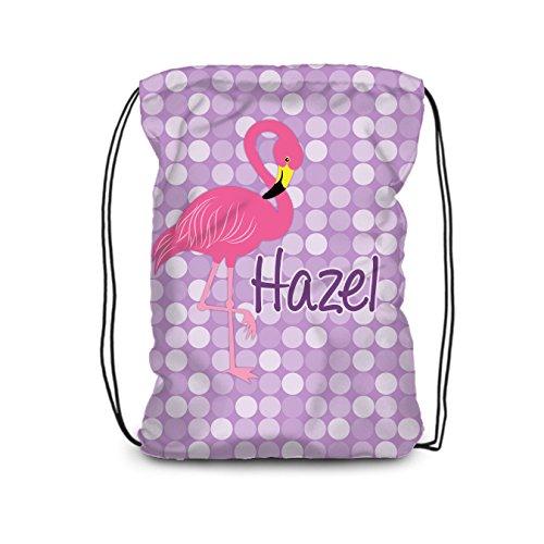 Flamingo Drawstring Backpack - Purple, Pink Flamingo Personalized Name Bag ()