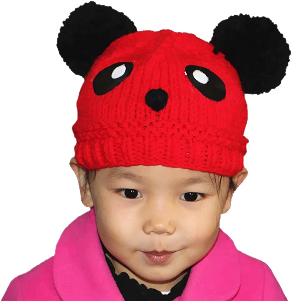 BIBITIME Black Eyes Smile Face Knitted Hat Cute Beanie with Pompom Cap for Girls